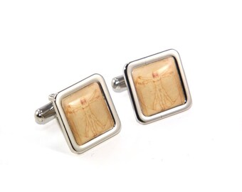 Vitruvian Man - Leonardo Da Vinci Cufflinks - Science, Nature, Maths Cufflinks