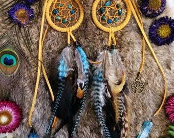 Dream Catcher Rear View Mirror Charm // Golden Yellow // Turquoise // Tree of Life // Aqua Aura Quartz