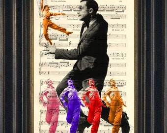 Gene Kelly Dance stance  print on upcycled Vintage Sheet Music Page mixed media digital
