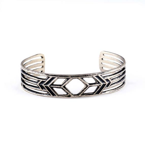 Open Bracelet Cuff | Arts and Crafts Mission Style | Silver Cuff Bracelet