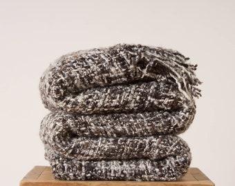 Gray blanket rug Terrazo style, Marble greige bedroom decor Bedspread, Rustic Handwoven wool Throw