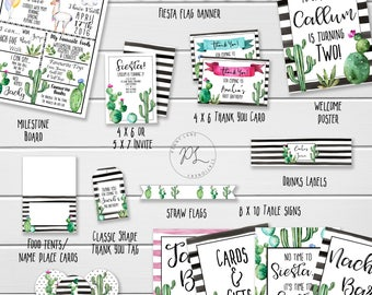 Cactus Party Package, Cactus Birthday Package, Fiesta Party Package, Fiesta Birthday Package, Invite, Thank You, Card, Tag, Printable