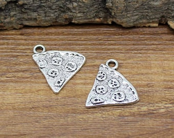 25pcs Antique Tibetan Silver Pizza Charms Pendant 20x19mm C2137-Y