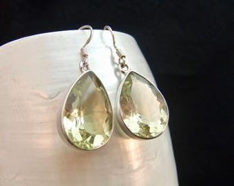Sparkling Lemon Quartz Sterling Silver Drop Earrings