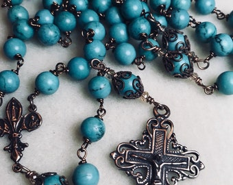 Scroll Turquoise Rosary, Bronze, Wire wrapped, 8mm, Catholic Jewelry, Christian Jewelry