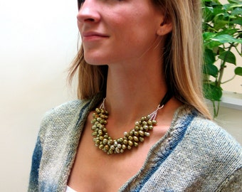 Moss Green Statement Necklace, Textured Green Pearl Bib Necklace on Silk Ribbon, Pearl Cluster and Sterling Silver