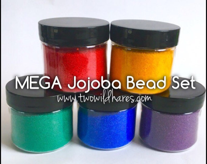 MEGA RAINBOW Jojoba Bead Set, 5 Colors, Bulk 4oz size for each color (20 oz)