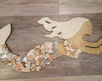 Seashell Mermaid - Beach Decor - Nautical Decor - Coastal Decor