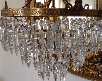 Lovely Vintage Sphere Cut Crystal French Chandelier