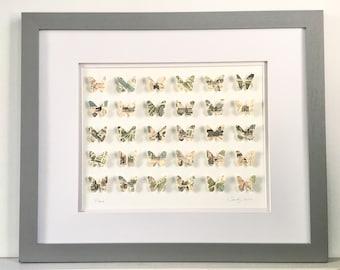"""Framed  Paris Butterfly  18.5""""x 22"""", 3D Paper Art, Wall Decor, Gift, Children,"""