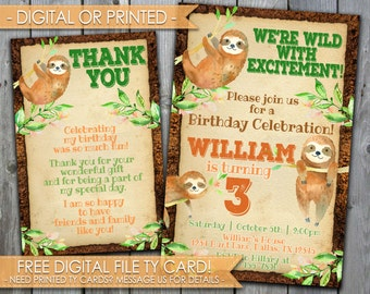 Sloth Invitation, Sloth Birthday Invitation, Boy, Digital File or Printed #485