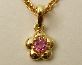 Genuine SOLID 9K 9ct Yellow GOLD October Birthstone Daisy Tourmaline Pendant
