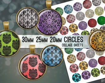 Damask Digital Collage Sheet Circle 30mm 25mm 20mm Download Sheets for Glass or Resin Pendants Cuff Links Round