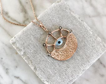 evil eye locket necklace with stones- FREE SHIPPING