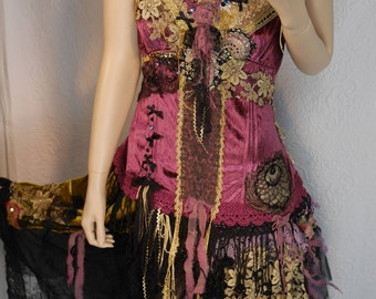 "Fairy dress ""Wild blueberries"" very feminine, Festive dress, purple velvet, Boho dress, Unique, Art to wear,"