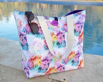 Large zebra beach bag, pool or shopping tote, house warming gift