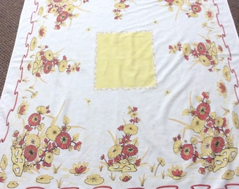 vintage Kitchen Tablecloth-41x54 -Fall Colors