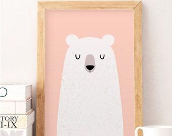 Bear wall art, Pink wall decor, Pink print, Nursery wall art, Cute wall decor, White bear, White bear decor, Baby room decor, Nursery prints