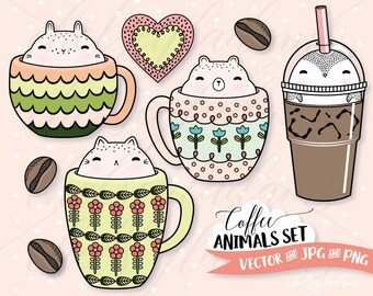 Coffee Animals Clipart Set, Vector Clip Art, DIY Planner Stickers, Cappuccino Art, Iced Coffee, Commercial Use Graphics, Spring, Cat, Bear