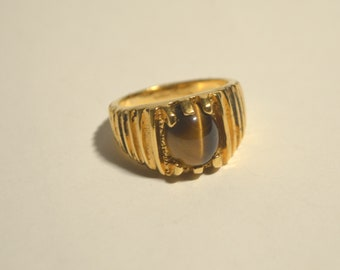 Vintage 18KT Gold HGE Natural Brown Tiger's Eye Chunky Gold Heavy Ring Size 11