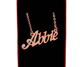 ABBIE - 18K Rose Gold Plated Name Necklace With Cubic Zirconia Crystals - Inc. Free Gift Box & Bag