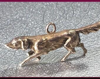 Dog Charm Setter Charm 14K Yellow Gold Charm - C 22