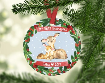 Babys First Christmas Ornament Personalized Babys First Christmas Ornament Boy Baby Boy Christmas Ornament Baby Ornament Babys First Deer