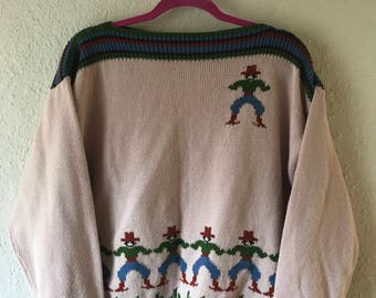 Vintage 80s Novelty Slouchy COWBOY and CACTUS Tan Boat Neck Collared Sweater/ M L