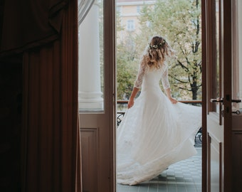 Lace Wedding Dress with Long Sleeve,Lace Sleeves,Hippie Wedding Dress,Boho Wedding Dress,Wedding Dress with Train,Bohemian Wedding Dress