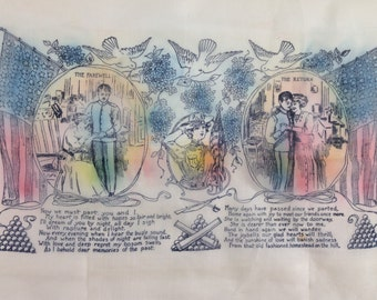 World War I Vintage Scarf / Farewell & Return Message with Illustrations / All Sheer Silk