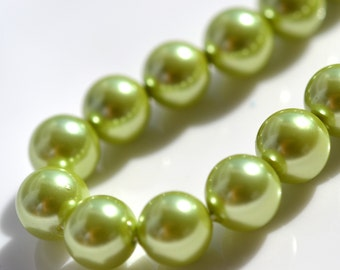 Fresh Green 8mm Shell Pearl Beads    8 Inch strand
