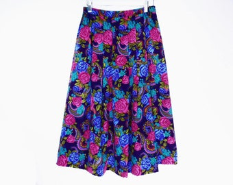 80's BOLD FLORAL silky midi skirt // bright roses and paisley // vintage pleated skirt // size S M