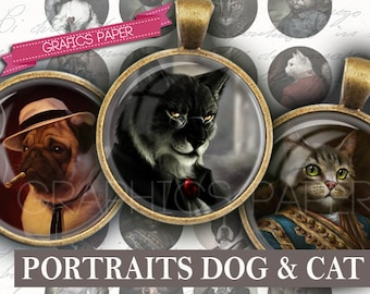 "Portraits of cats dogs clothes - digital collage sheet - td92 - 1.5"", 1.25"", 30mm, 1 inch circles magnet, Images for pendant, cabochon"