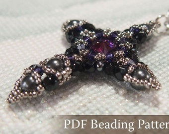 Beading tutorial Crystal Cross Pendant, Beadwork pattern with Swarovski Crystal, Rivoli and japanese seed beads