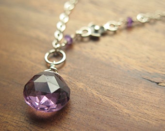 Lavender Quartz, Amethyst and Sterling Silver Necklace