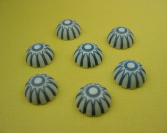 6 Vintage Blue Stripe Cabochons