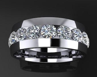 beau ring - men's wedding band, 3 carat men's ring