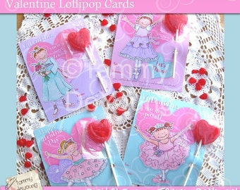 Ballerina Valentine Cards* Girls Valentines* DIY printable Valentines dance with & without Scripture, classmate cards, personalisation extra