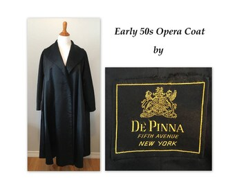Vintage 50s Satin Opera Coat L XL New Look by De Pinna in Black Silk