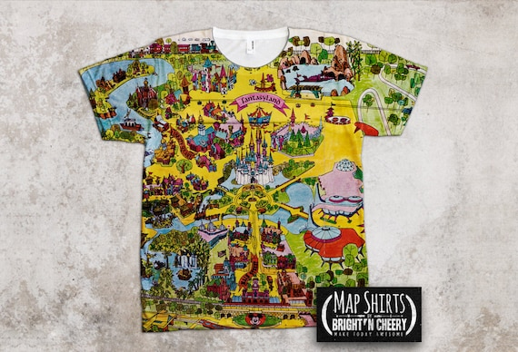 Walt Disney World Magic Kingdom Vintage Map T Shirt Family