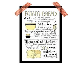 Bread recipe print, kitchen print, 5x7 digital illustrated art print, hand lettered