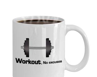 Workout No Excuses Fitness Motivation Gift Mug