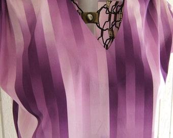 1970s Purple Shirt   Vintage Purple Blouse   Retro Polyester Summer Top