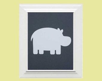 Custom Personalized Hippo/Animal Picture, Children's Wall Art, Kid's Wall Art, Nursery Wall Art, Elephant Wall Art-Grey,White