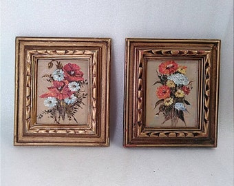 Vintage Framed Floral Paintings on Wood