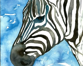 Zebra Art - Watercolor Print, Blue Zebra, Animal Illustration, Zebra Watercolor, Zebra Illustration, Zebra Decor, Zebra Art, Zebra Painting