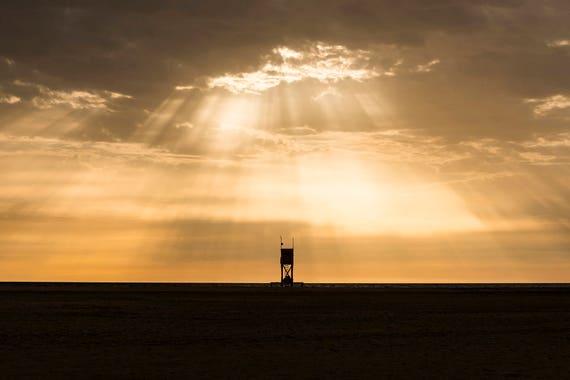 SUNBURST OVER TOWER. Beach Print, Fuerteventura, Canary Islands, Cloudscape, Limited Edition, Travel Photography