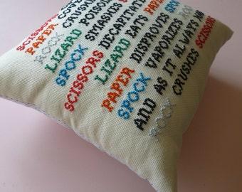 Cross stitch cushion, rock paper scissors lizard spock, big bang quote, handmade cushion, embroidered cushion