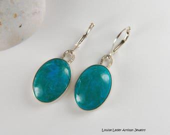 Turquoise Earrings Silver Artisan Earrings Natural Stone Earrings Southwestern Jewelry Silver Artisan Jewelry