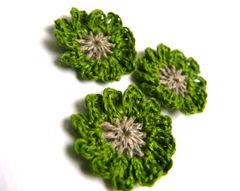 Crochet flowers green applique,spring flower, mini crochet motifs,12 Petal embellishments,set of 6 crochet applique, linen flower, Scrapbook